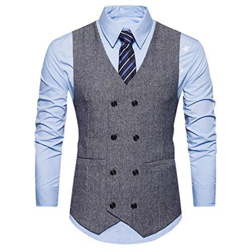 Winterjacke Herren Männer Warm Vest Formal Tweed Scheck doppelt Breasted Weste Retro Slim Fit Passen Jacke