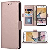 Phone Case for Samsung Galaxy on5 2015 Folio Flip Wallet Case,PU Leather Credit Card Holder Slots Heavy Duty Full Body Protection Kickstand Protective Phone Cover for GalaxyON5 G5500 Men Rose gold