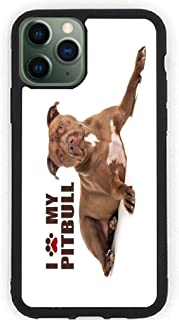 Hard Rubber Phone Case for iPhone 11 Pro Max Case Cover - Paw Print I Love My - Pitbull - Brown