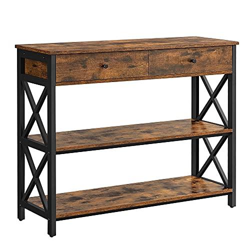 VASAGLE Table Console, Table dentrée avec 2 tiroirs, Buffet à 3 Niveaux, Cadre en Acier en Forme de X, pour Couloir, Salon, Style Industriel campagnard, Marron Rustique et Noir LNT21BX