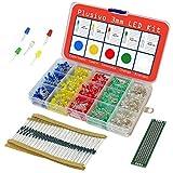 Kit diodi LED da 3 mm - Confezione di LED monocolore assortiti e resistenze (1000 pezzi) - 5 colori (rosso, verde, giallo, blu e bianco) - Resistenze e PCB per prototipazione in omaggio