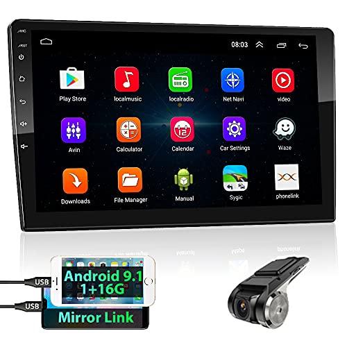 podofo 2 Din Android GPS Autoradio Stereo, 10.1'' HD TouchScreen Lettore MP5 Audio per Auto Supporto Bluetooth/WiFi/GPS/Mirroring del Telefono/FM/Controllo del Volante + Telecamera Posteriore