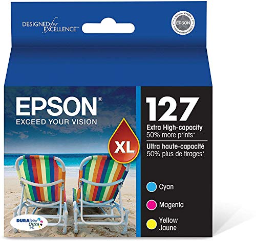 Epson T127520 Extra High Capacity Color Ink Cartridges, C/M/Y 3-Pack