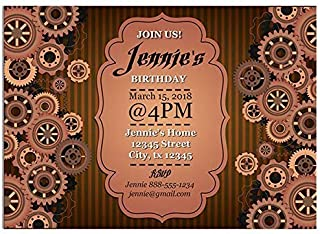 Steampunk Gears Background Birthday Party Invitations