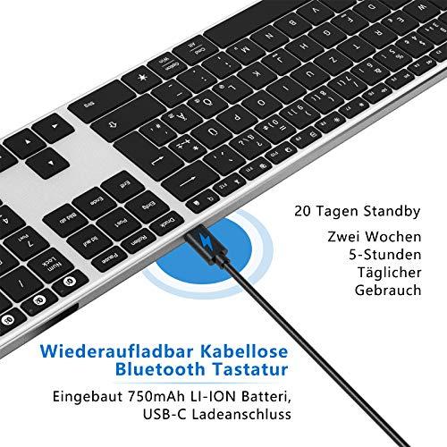 Jelly Comb Bluetooth Tastatur Beleuchtet, Wiederaufladbare Kabellose Tastatur mit 3 Bluetooth Kanälen, Funktastatur mit Ultra Dünnen Design für MacOs/Windows/Android, Schwarz und Silber