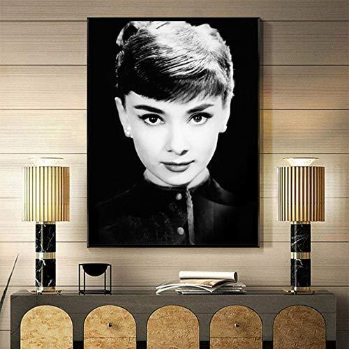 adgkitb canvas Porträt wandkunst und Wohnzimmer Dekoration leinwand malerei schwarz und weiß Bild 30x45 cm KEIN Rahmen