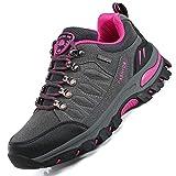 unitysow scarpe da trekking uomo donna arrampicata sportive all'aperto scarpe da escursionismo sneakers unisex impermeabili traspiranti passeggiate stivali 35-47,grigio rosa rossa-1,eu35