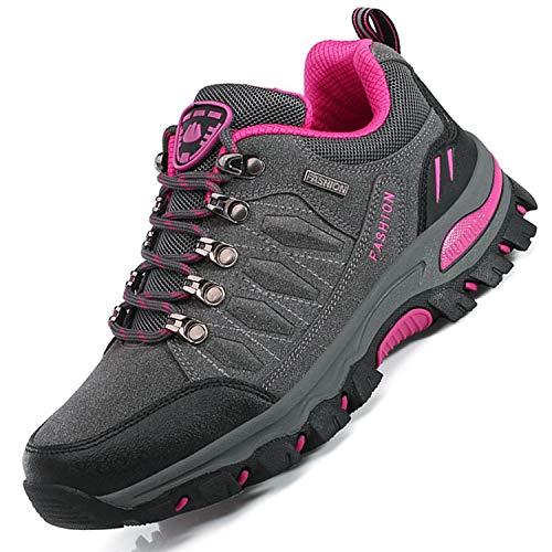Unitysow Scarpe da Trekking Uomo Donna Arrampicata Sportive All'aperto Scarpe da Escursionismo Sneakers Unisex Impermeabili Traspiranti Passeggiate Stivali 35-47, Grigio Rosa Rossa-1,EU38