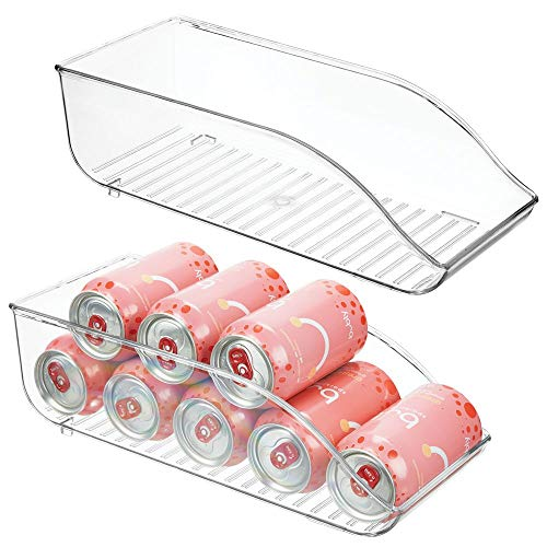 mDesign Juego de 2 cajas de almacenaje para frigorífico y armarios de cocina – Contenedores de plástico con capacidad para 9 latas cada uno – Práctico organizador de nevera – transparente