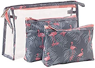CLOSEUS 3 in 1 Cosmetic Bag Transparent Waterproof Packing Organizer Makeup Storage Pouch with Zipper for Travel, Bathroom(Flamingo)