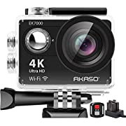 AKASO EK7000 4K WIFI Sports Action Camera Ultra HD 12MP Waterproof DV Camcorder 170 Degree Wide Angle 2 Inch LCD Screen / 2.4G Wireless Remote Control/ 2 Rechargeable Batteries/ 19 Mounting Kits-Black
