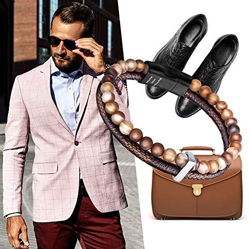 murtoo Mens Bead Leather Bracelet, Blue and Brown Bead and Leather Bracelet for Men (Brown)