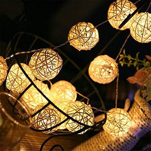 MissGao 5 meter rotan bal LED-snoer, 40 LED-lampkralen, LED-wikkelaar, retro bal verlichting, kamerdecoratie