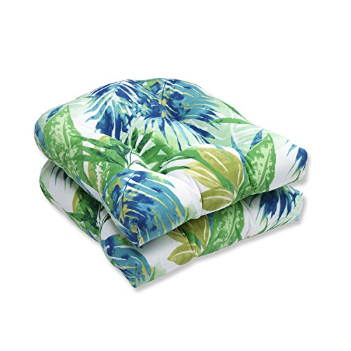 """Pillow Perfect Outdoor/Indoor Soleil Tufted Seat Cushions (Round Back), 19"""" x 19"""", Blue/Green, 2 Count"""