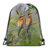 perfetto per la casa natura ramo foglie uccelli coppia golden bee mangiatore ape coulisse zaino leggero palestra viaggio yoga snackpack borsa a tracolla per escursioni nuoto spiaggia