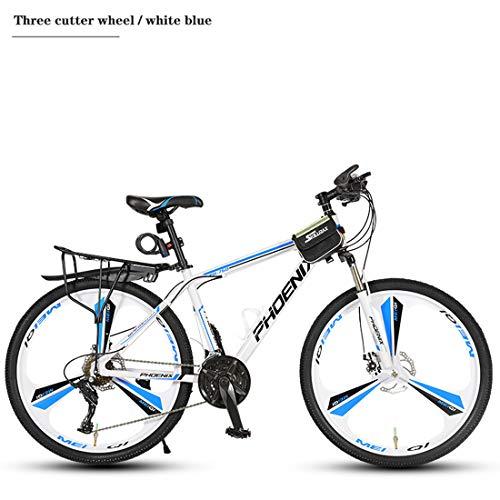 Fahrrad Mountainbike, Aluminium Rahmen, Doppelscheibenbremse, 26-Zoll-Räder, 21/24/27/30 Geschwindigkeit, 3 Cutter Räder, 6 Schneidrad,A1,27