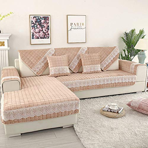 YUTJK Europeo Fundas de Sofá,Dos Plazas Antideslizante Funda para Sofá,Cubre Sofá para Chaise Long Rinconera,para sofá de 1/2/3/4 plazas,Cojín de sofá de Encaje de Felpa Gruesa-Beige_110×160cm