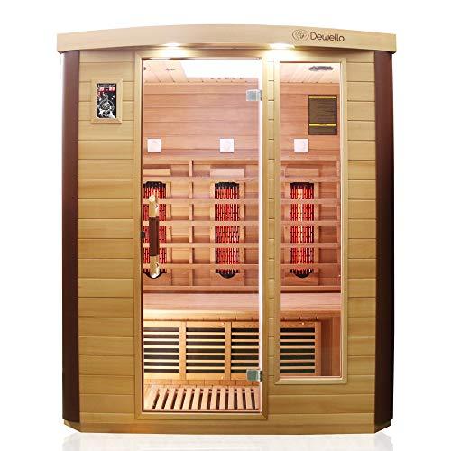 Dewello Infrarotkabine TORONTO 160x110 für 1-3 Personen aus Hemlock & Zedernholz mit stufenlos regelbaren Vollspektrumstrahlern
