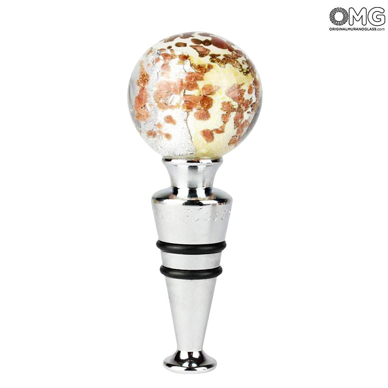 再生つづり競うオリジナル ムラーノガラス OMG ボトルストッパー - アベンチュリン