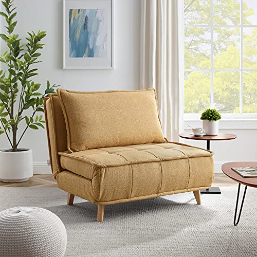 Volans Modern Modular Sectional Sofa Couch with Wood Legs, Convertible Chair 3-in-1 Multi Function Fold Down Sofa Bed with 3 Position Adjustable Backrest, 1 PCS, Yellow