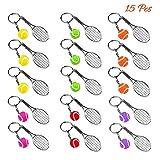 AUHOTA 15 Pièces Mini-Balle de Tennis Raquette Pendentif Porte-clés Métal Cadeau Keyring, Mini Raquette de Tennis Porte-clé en Alliage Créatif Porte-clefs pour Les Amateurs de Sport(6 Couleur)