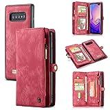 ToneSun Handyhülle für Samsung Galaxy S10 Plus Hülle, S10+ Wallet Lederhülle [Nicht für S10],  2 in 1 Abnehmbare Leder Flip Schutzhülle: Geschäft Multifunktionale Tasche Cover in Rot
