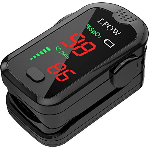 Pulse Oximeter Fingertip Oxygen Saturation Monitor with Sound Reminder Function, Fast Heart Rate and Spo2 Reading Oxygen Monitor Portable Digital Reading LED Display with 2 Batteries and Lanyard