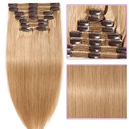 25-55cm 110g-160g Double Weft Extension Capelli Veri Clip Full Head - 100% Remy Human Hair Capelli Umani (35cm-120g, 27# Biondo Scuro)