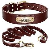 N\C Personalisierte Hundehalsband und Leine Set Echtes Leder Haustier Halsbänder Hunde Walking Blei Leine für kleine große Hunde Pitbull XX S- XL