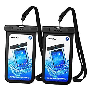 Mpow Universal Waterproof Case, IPX8 Waterproof Phone Pouch Dry Bag Compatible for iPhone X/8/8plus/7/7plus/6s/6/6s Plus Galaxy s8/s7 Google Pixel HTC10 (Black 2-Pack)