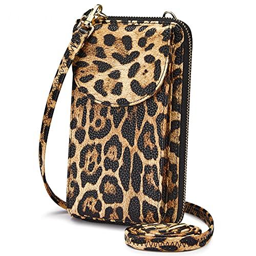 S-ZONE PU cuero RFID bloqueo Crossbody teléfono celular bolsa para mujeres monedero, Marrón leopardo, S,