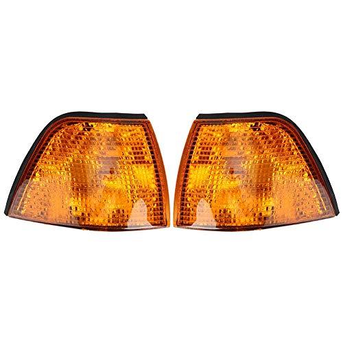 Luz de esquina 1 par Luz de esquina Cubierta de luz de señal de giro Lente amarilla Ajuste para 3-Series E36 Sedan 63138353279