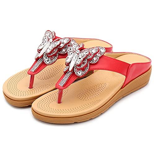 Gycdwjh Sandalias Mujer Verano, Bohemia Sandalias con Pedrería Cómodo Casual Zapatos de Playa Clip Toe Pisos Peep Toe Chanclas para Uso Diario y Fiestas,Rojo,38 EU