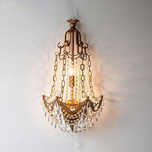 TOYM UK American Country Crystal Wall Lamp Salon Salon de la ferronnerie en acier rétro antibrouillard