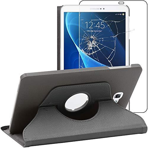 ebestStar - Funda Compatible con Samsung Galaxy Tab A6 A 10.1 (2018, 2016) T580 T585 Carcasa Cuero PU, Giratoria 360 Grados, Función Soporte, Gris +Cristal Templado [Aparato: 254.2x155.3x8.2mm 10.1']