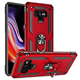 Galaxy Note 9 Case Military Grade Drop Impact Tested Armor 360 Metal Rotating Ring Kickstand Holder Built-in Car Mount Silicone TPU Shockproof Anti-Scratch Full Body Protective Cover for Note 9(Red)