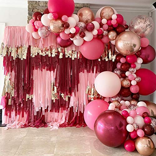 DIY 136PCS Burgundy Garland Balloons Kits with18/12/10/5inch White Wine Red Pink Chrome Metallic Latex Balloons for Birthday Party Celebration Wedding Ceremony Anniversary Surprise Balloon Chain.