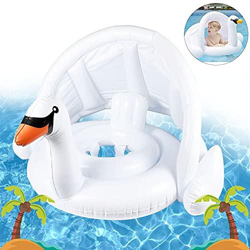 Schwimmring Flamingo,Aufblasbarer Schwimmreifen,Baby Schwimmring Mit Sonnenschutz,Bbaby Schwimmring Aufblasbarerabyschwimmen,Baby Schwimmtrainer,Aufblasbarer Schwimmreifen(weißer Schwan)