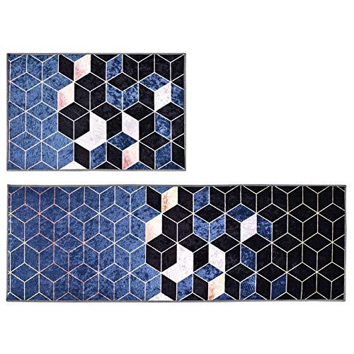 Weichuang 2 Stück Küchenteppiche, Waschbarer Küchenmatte, rutschfeste Küchenläufer, Schön Teppichläufer mit Bunt Mosaike für Küchen, Küchenvorleger Set #1 40x60+40x120cm