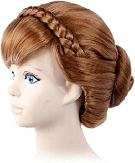 GOOACTION Anna Princess Frozen Brown Hair Wig with Bangs and Braid Anime Cosplay Wigs