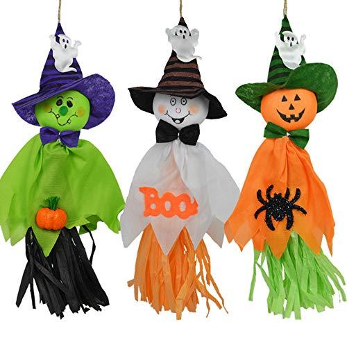 CHBOP 3 Pezzi Decorazioni di Halloween Ghosts Doll Pendants, Elementi Decorativi di zucche, Fantasmi e Ragni, per la casa, Bar, KTV, supermercato Decorazioni