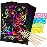 Mocoosy 60 piezas de papel de rascar para niños - Rainbow Magic Scratch Off Paper Art and Craft Kit Scratch Note Black Doodle Pads con 4 plantillas 5 lápices de madera para fiestas niñas niños regalos
