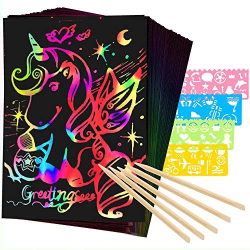 Mocoosy 60Pcs Scratch Art Paper für Kinder - Rainbow Magic Scratch off Papierkunst und Bastelset Scratch Note Schwarze Doodle Pads mit 4 Schablonen 5 Holzstift für Party Favor Aktivitäten Geschenk