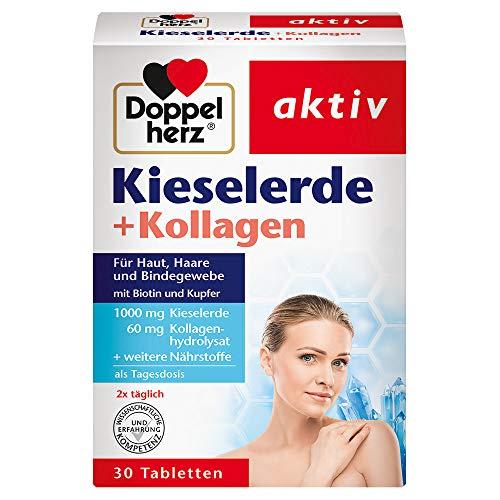 Doppelherz Kieselerde + Kollagen – Mit Biotin als Beitrag für den Erhalt normaler Haut und Haare – 30 Tabletten