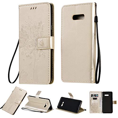 Nancen Compatible with Handyhülle LG G8X / G8X ThinQ Hülle, Flip-Hülle Handytasche - Standfunktion Brieftasche & Kartenfächern - Baum & Katze - White Gold