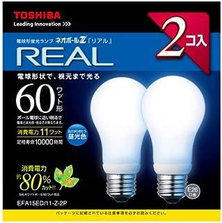 東芝 電球形蛍光灯 A15形・昼光色【2個入】ネオボールZリアル EFA15ED/11-Z-2P EFA15ED/11-Z-2P  口金直径26mm