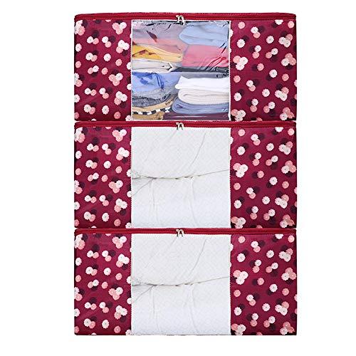 ZCHI 3 Stück Aufbewahrungstasche Faltbare Aufbewahrungsboxen, Große langlebige für Bettwäsche, Kleidung, Decken, Kissen Quilt Saison Artikel Lagerung