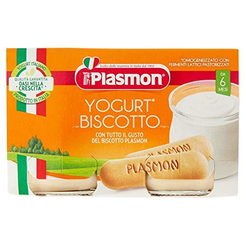 Plasmon Merenda Yogurt e Biscotto Omogeneizzato con Fermenti Lattici Pastorizzati, 2 x 120g
