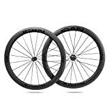 ICAN Ruote da Corsa in Carbonio - per copertoncino con Cerchio TLR (tubeless Ready) - Profilo 50mm - Novatec A291SB-SL / F482SB-SL Hub Pillar 1423 Raggi 20/24 Fori