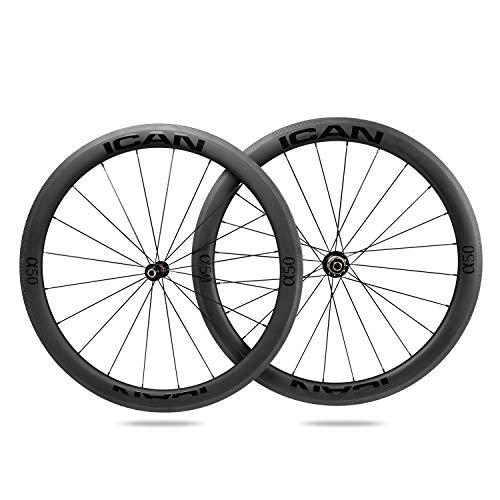 ICAN Ruote da corsa in carbonio - per copertoncino con cerchio TLR (tubeless ready) - profilo 50mm - Novatec A291SB-SL / F482SB-SL Hub Pillar SA1423 Raggi 20/24 Fori